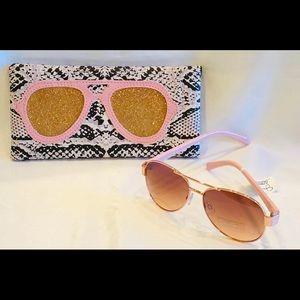 🌺Jessica Simpson Pink Aviator Sunglasses & Case